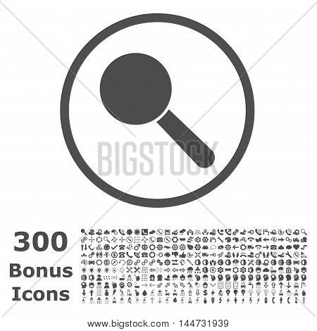 Search Tool rounded icon with 300 bonus icons. Vector illustration style is flat iconic symbols, gray color, white background.