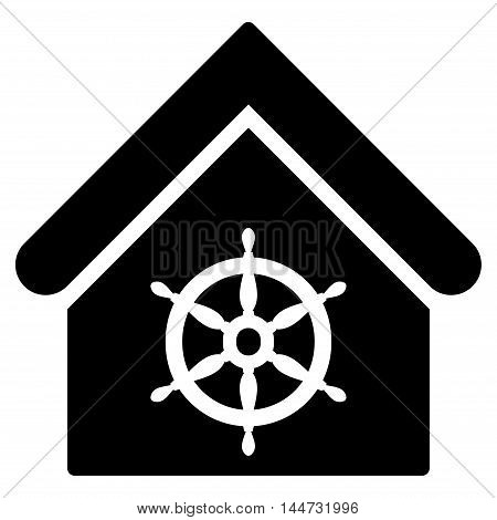 Steering Wheel House icon. Glyph style is flat iconic symbol, black color, white background.