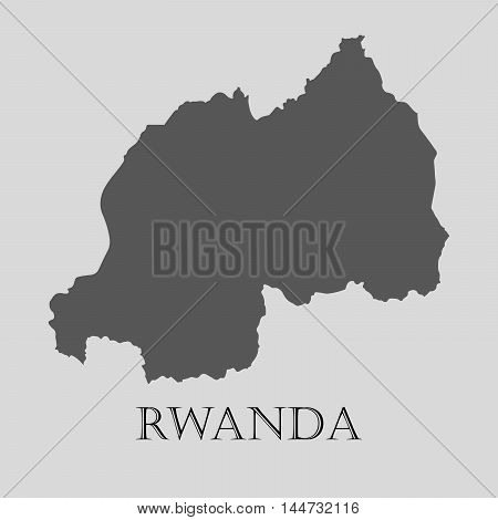 Gray Rwanda map on light grey background. Gray Rwanda map - vector illustration.