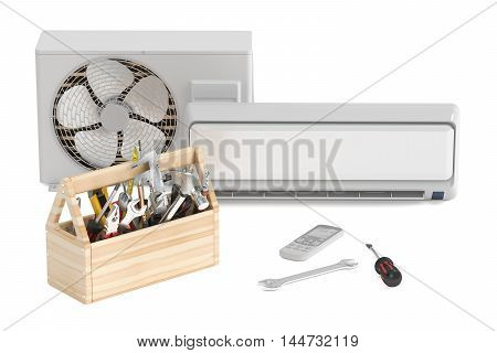 Air conditioner with toolbox and tools. Repair and tech support concept 3D rendering
