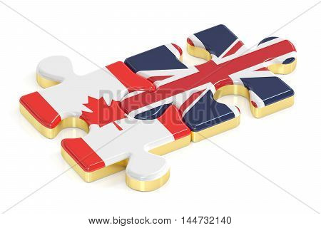 Great Britain and Canada puzzles from flags 3D rendering