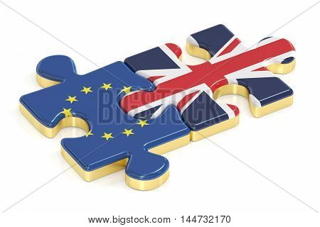 Great Britain and European Union puzzles from flags 3D rendering