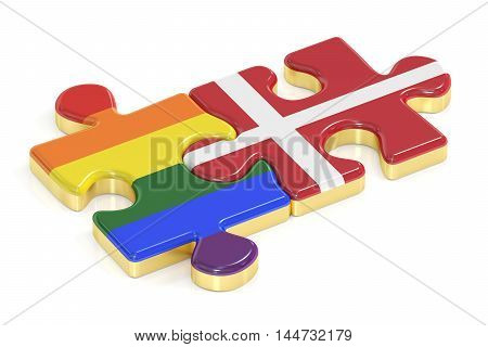 Gay Pride Rainbow and Denmark puzzles from flags 3D rendering