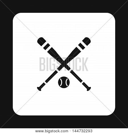 Baseball bat and ball icon in simple style isolated on white background. Sport symbol