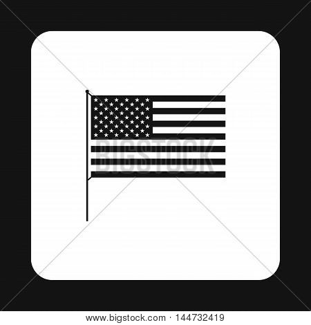 American flag icon in simple style isolated on white background. State symbol