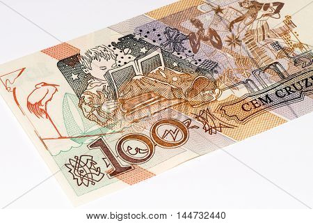 100 Brasilian cruzeiro bank note. Cruzeiro is the former currency of Brasil