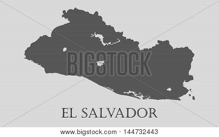 Gray El Salvador map on light grey background. Gray El Salvador map - vector illustration.