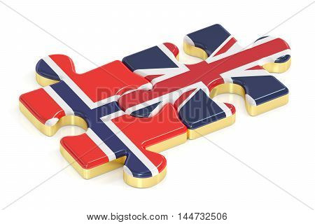 Norway and UK puzzles from flags 3D rendering