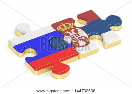 Serbia and Russia puzzles from flags 3D rendering