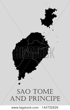Black Sao Tome and Principe map on light grey background. Black Sao Tome and Principe map - vector illustration.
