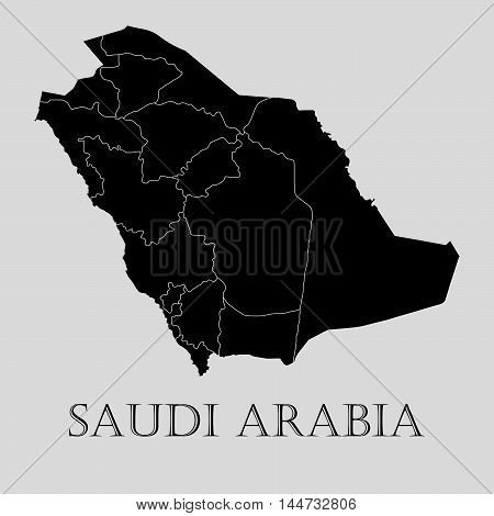Black Saudi Arabia map on light grey background. Black Saudi Arabia map - vector illustration.