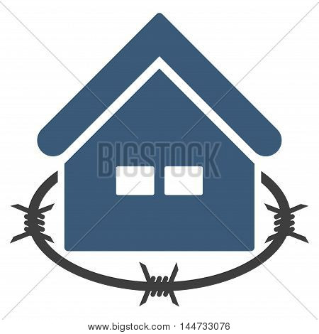Prison Building icon. Glyph style is flat iconic symbol, blue color, white background.