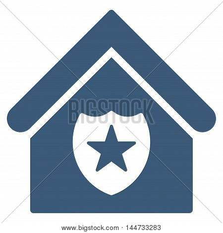 Realty Protection icon. Glyph style is flat iconic symbol, blue color, white background.
