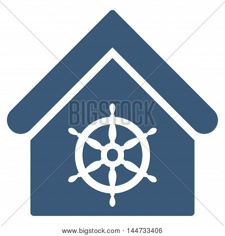 Steering Wheel House icon. Glyph style is flat iconic symbol, blue color, white background.