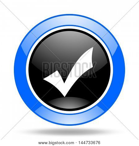 accept round glossy blue and black web icon