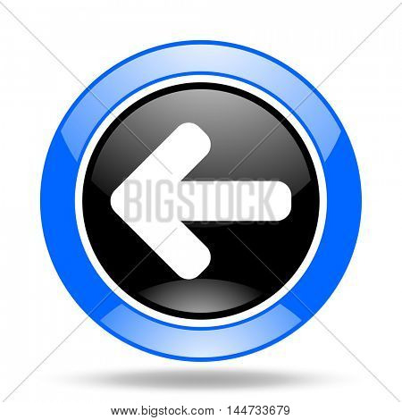 left arrow round glossy blue and black web icon
