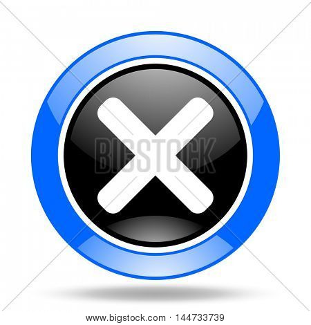 cancel round glossy blue and black web icon