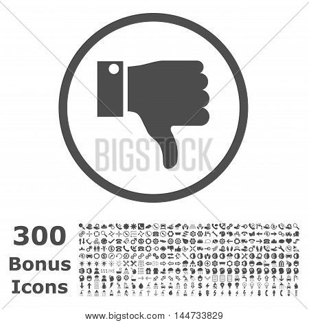 Thumb Down rounded icon with 300 bonus icons. Vector illustration style is flat iconic symbols, gray color, white background.