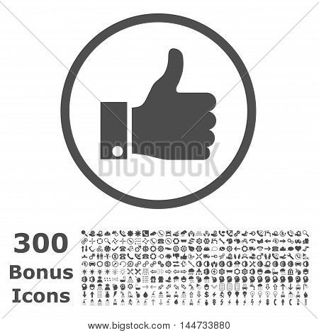 Thumb Up rounded icon with 300 bonus icons. Vector illustration style is flat iconic symbols, gray color, white background.