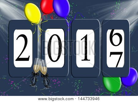 Odometer for New Year 2017 with party balloons and champagne flutes on confetti background.