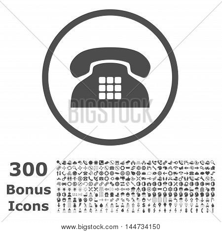 Tone Phone rounded icon with 300 bonus icons. Vector illustration style is flat iconic symbols, gray color, white background.