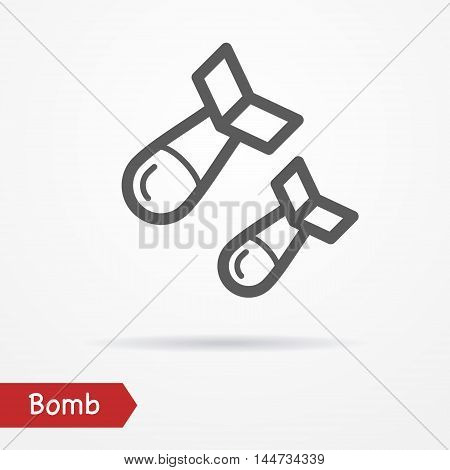 Abstract simplistic air bomb icon in silhouette line style with shadow. Military vector stock image.