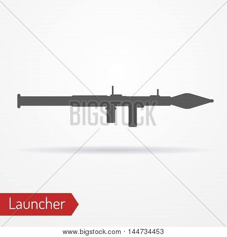 Abstract grenade launcher icon in silhouette style with shadow. Military vector stock image.
