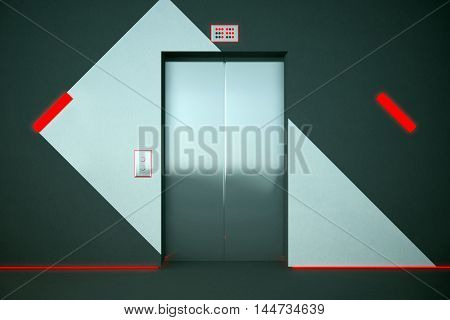 Elevator With Red Lighting
