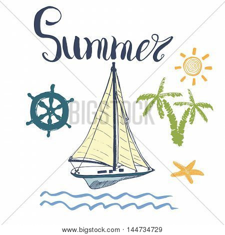 Summer Vector Illustration Yacht Anchor Navy objects and Lettering