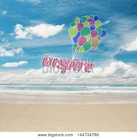 Colorful air balloons with text on sea and sky background. Inspiration concept