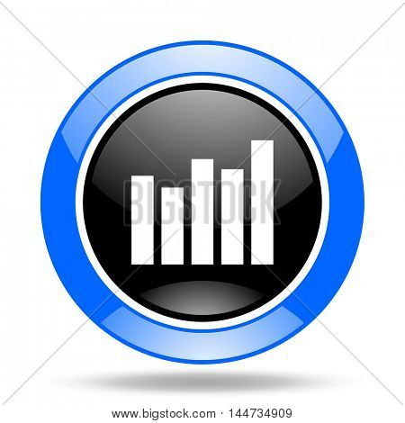 graph round glossy blue and black web icon