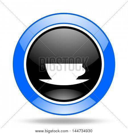 espresso round glossy blue and black web icon