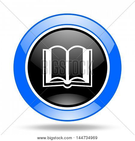 book round glossy blue and black web icon