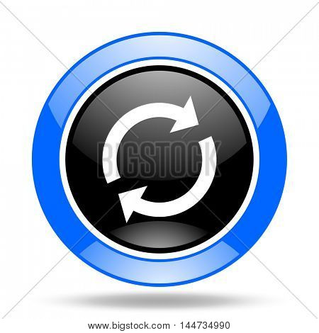 reload round glossy blue and black web icon