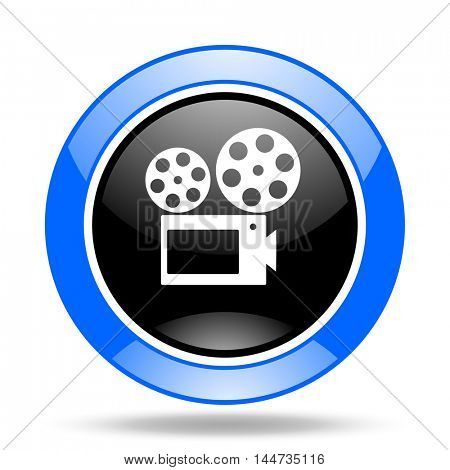 movie round glossy blue and black web icon