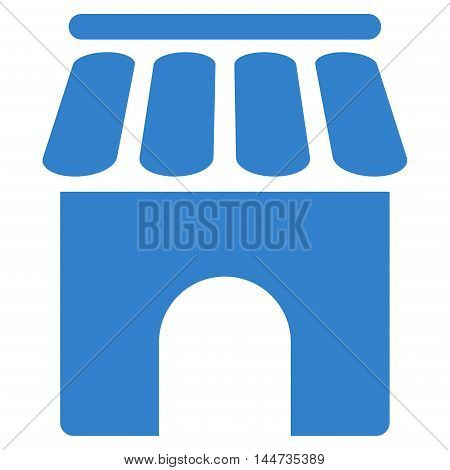 Shop Building icon. Glyph style is flat iconic symbol, cobalt color, white background.