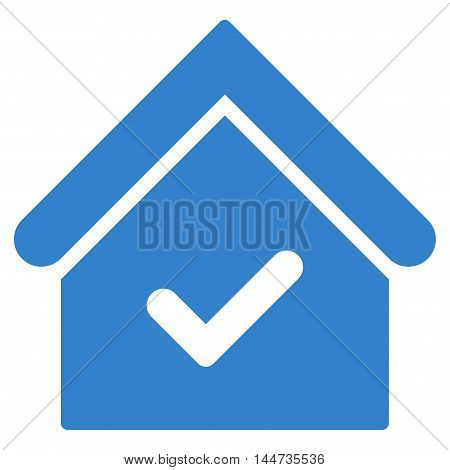 Valid House icon. Glyph style is flat iconic symbol, cobalt color, white background.