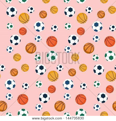 Sport balls seamless pattern.Balls for soccer and basketball. Vector stock picture.