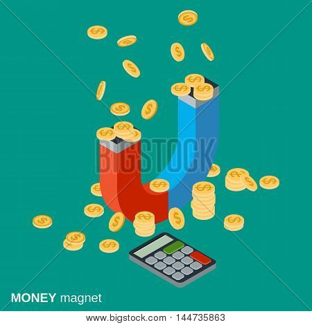 Money magnet, investments attracting, funds accumulation flat isometric vector concept