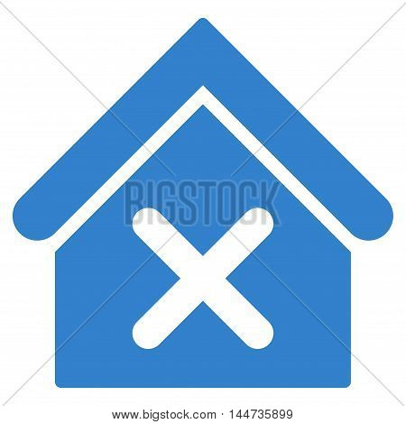 Wrong House icon. Glyph style is flat iconic symbol, cobalt color, white background.