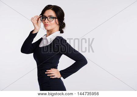 Portrait of beautiful business woman wearing glasses.