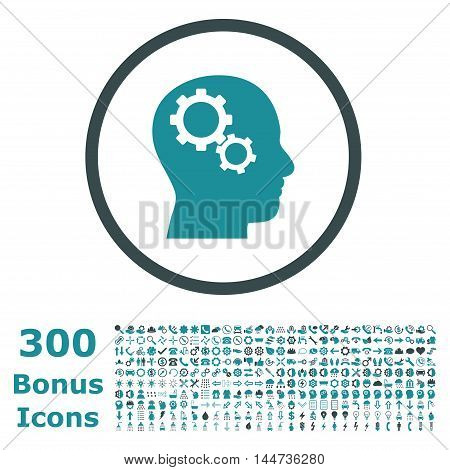 Brain Gears rounded icon with 300 bonus icons. Vector illustration style is flat iconic bicolor symbols, soft blue colors, white background.