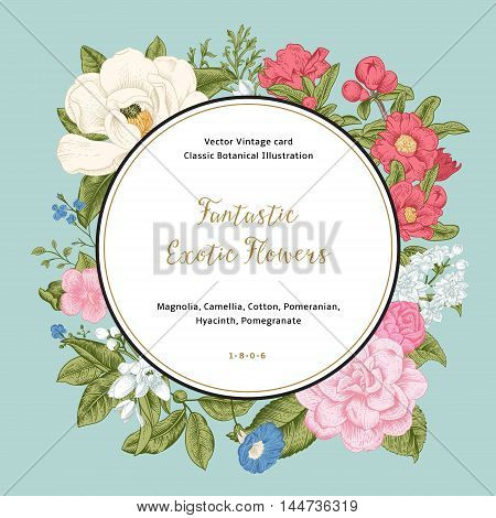 Wreath with exotic flowers. Magnolia camellia hyacinth gnanat on mint background. Vector Vintage card.