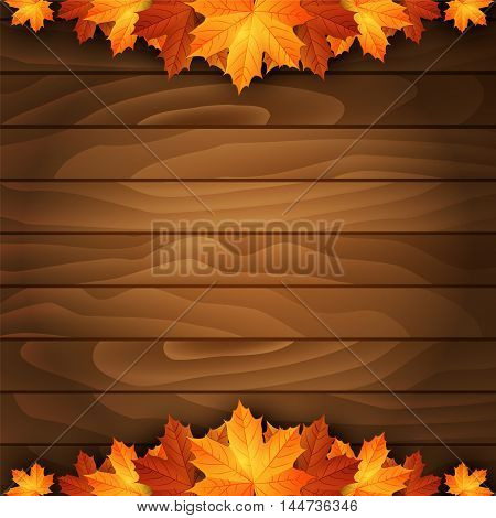 Border of autumn maples leaves on a wooden background. Vector illustration.