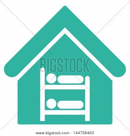 Hostel icon. Glyph style is flat iconic symbol, cyan color, white background.