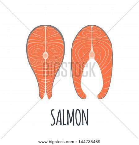 Salmon meat Icon in flat style isolated on white background. Vector illustration.