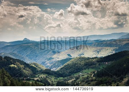 Mountain landscape with clouds summer day Zlatibor Serbia