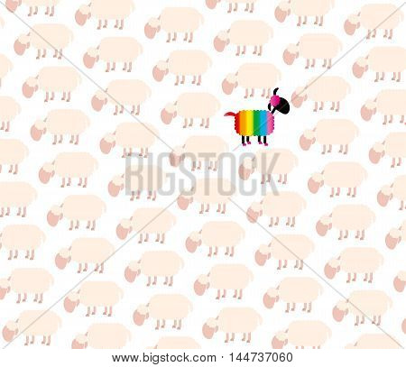 Gay black sheep with rainbow colored fur among white sheep flock.