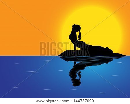 Yoga Cobra Pose Sea Background