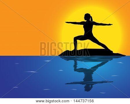 Yoga Warrior Pose Sea Background